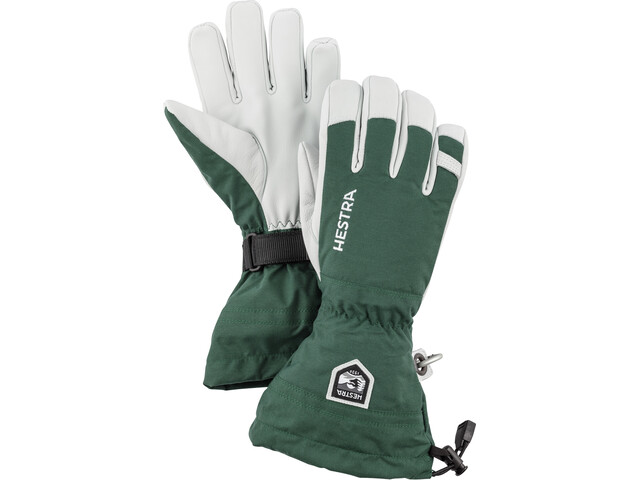 Hestra Army Leather Heli Ski 5 Finger Handschuhe bottle green